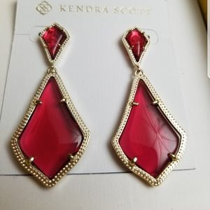 NWT Kendra Scott Berry Glass Alexa Earrings Gold